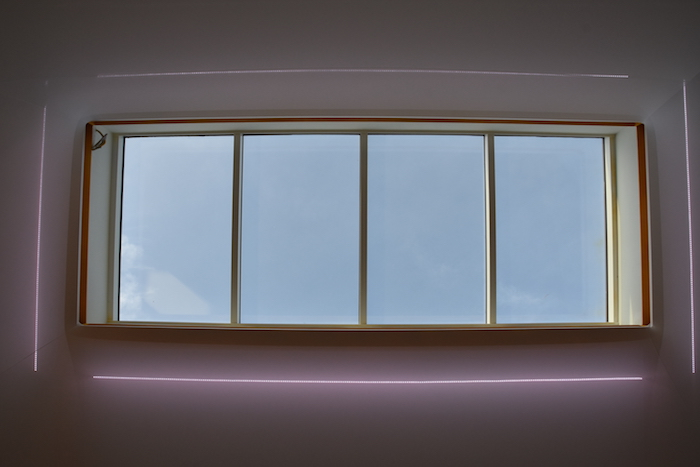 View at the sky through the magical skylight in meeting room Create